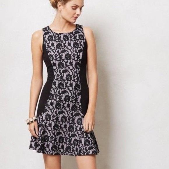 63afe7aaf69a Anthropologie Dresses | Maeve Xs Black And Gray Lace Flounce Hem ...